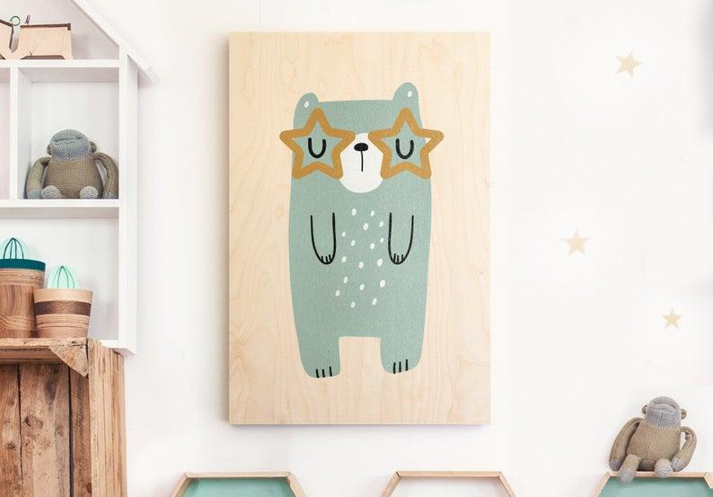 Tableau en bois ours