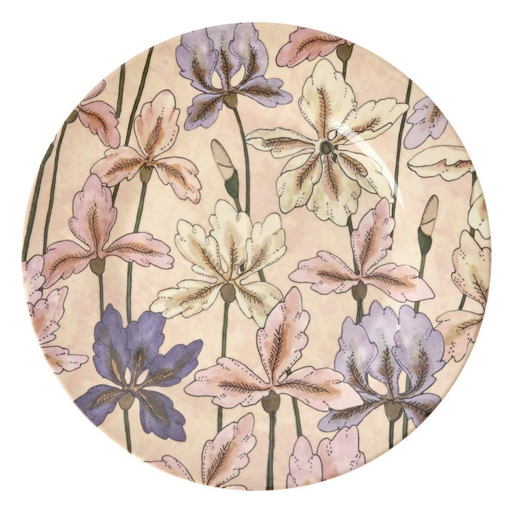 Assiette iris rose