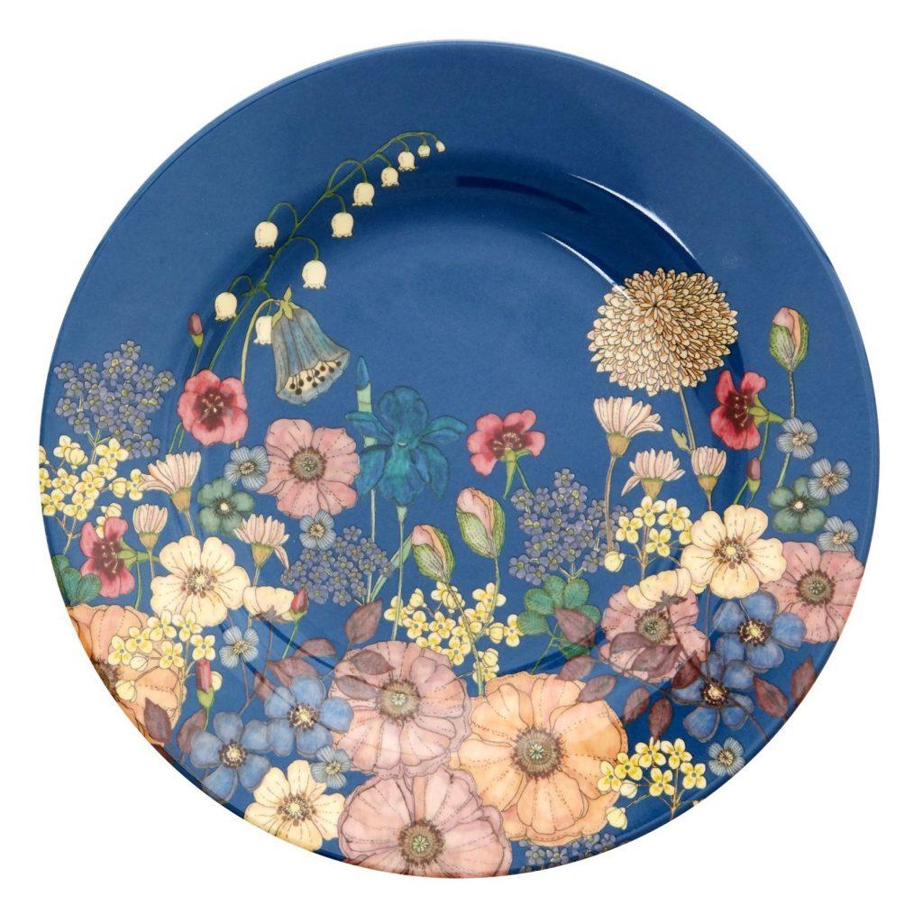 Assiette fleurs bleu