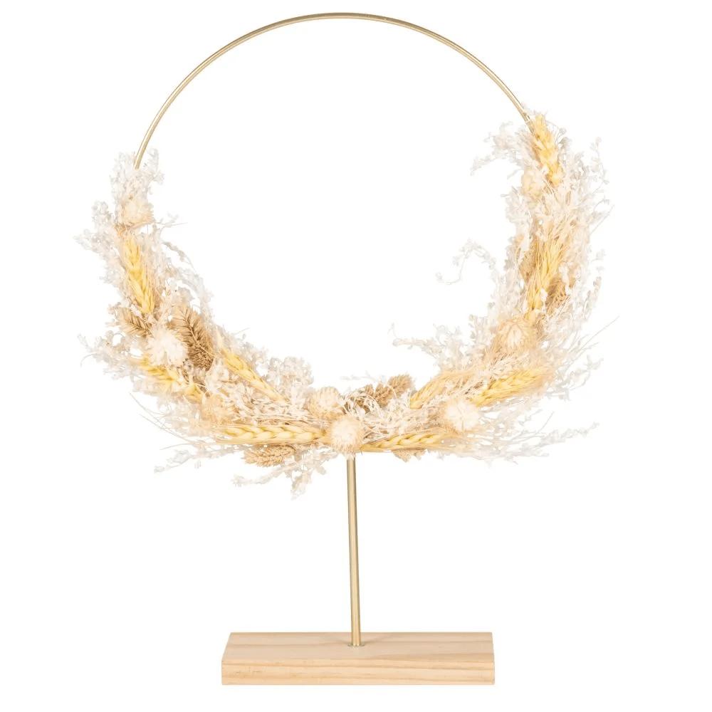 Couronne fleurie sur socle en pin