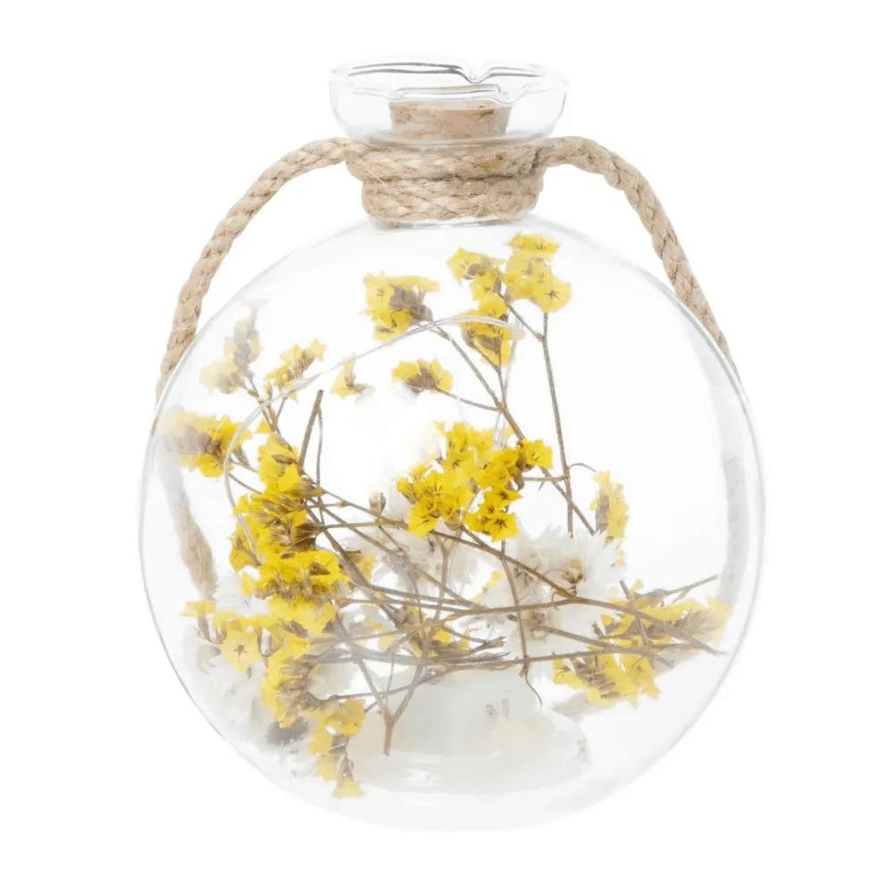 Déco lumineuse fleurs séchées en verre