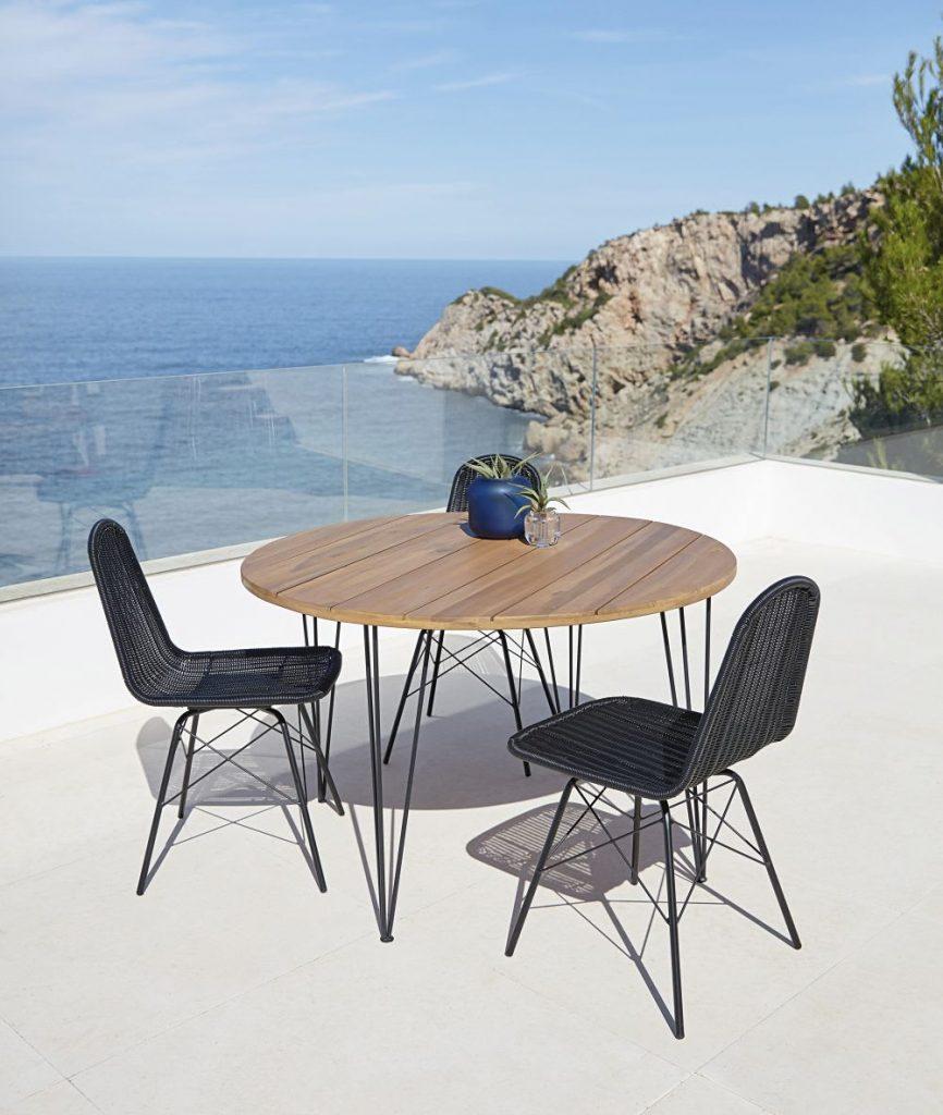 Table de jardin ronde en acacia