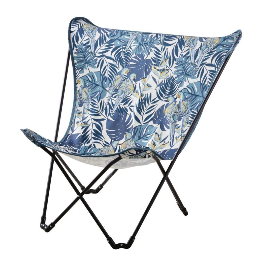 Fauteuil papillon de jardin pliant en métal noir et toile bleue imprimée
