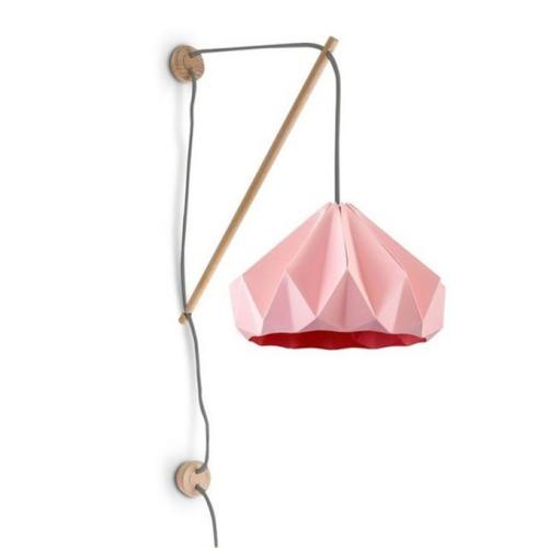 Applique bois origami rose