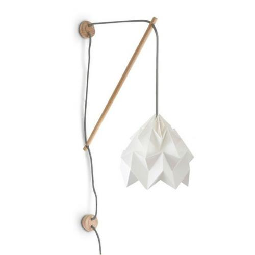 Applique bois origami blanc